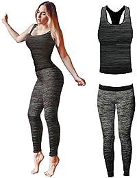 Bonjour - Vêtements de sport pour femmes: ensemble veste / gilet et top / legging, stretch-fit pour yoga et gymnastique
