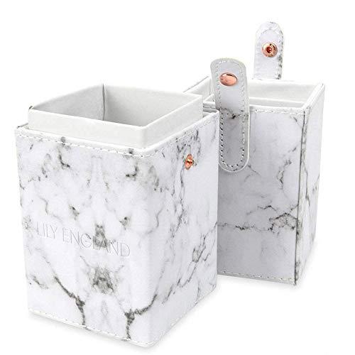 Lily England Make Up Pinsel Aufbewahrung, Pinselbehälter & Kosmetik Pinselhalter inluxuriöser Marmor Optik- Reise Pinselbox & Brush Aufbewahrungsbox