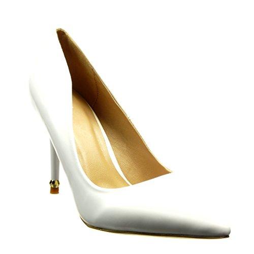 Angkorly Scarpe Moda scarpe decollete stiletto sexy donna d'oro verniciato Tacco Stiletto alto 9.5 CM Bianco