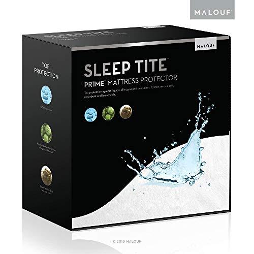 Top-twin-matratze (Sleep Tite von Malouf Hypoallergen 100% wasserdicht Matratze Reifenmuster/15Jahre Garantie, weiß, Twin XL)