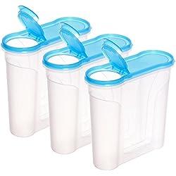 idea-station Schüttdosen 2 Liter, 3 Stück, blau-transparent, mit Deckel, stapelbar, Streudosen, Vorratsdosen, Aufbewahrungsboxen, Frischhaltedosen, Müslidosen, Cerealienboxen, spülmaschinenfest