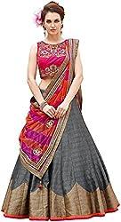Nirvan Fashion Womens Grey Dupion Silk Lehenga-Choli -(roza grey | Free Size)