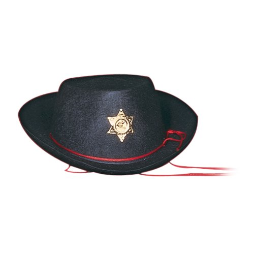 Cowboy Hut schwarz mit Sheriff Stern gold Einheitsgröße Kostüm (Sheriff Stern Hut Schwarzer Mit)