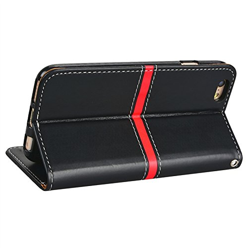 Yokata Hülle for iPhone 6 / iPhone 6s, Flip Magnetverschluss Leder Brieftasche mit Stand Karte Halterung Hülle Vintage Tasche Case + 1x Kapazitive Feder - Schwarz Schwarz