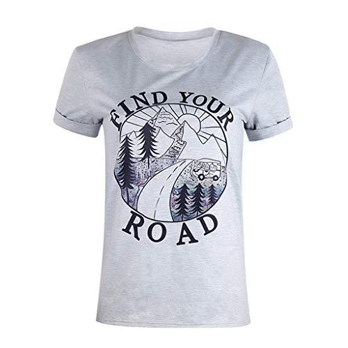 Evansamp Neue Frauen Sommer Bluse, Damen Mode Print Kurzarm T-Shirt Oansatz Druck Tops Bluse(Grau,L) (Black-panel-kleid White-und)