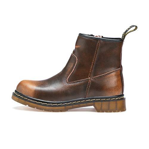 gounure wasserdichte Lederstiefeletten für Damen Chunky Mid Heels runde Form Martin Stiefel mit Reißverschluss -