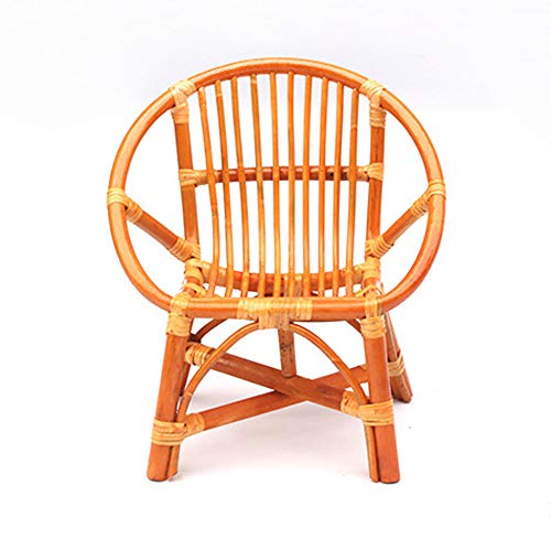 seeksungm Chair, handmade Natural rotin Stool, Home Eco-Friendly rotin backrest Chair, Casual Weaving Bamboo and Wicker Chair Flat mouth trumpet