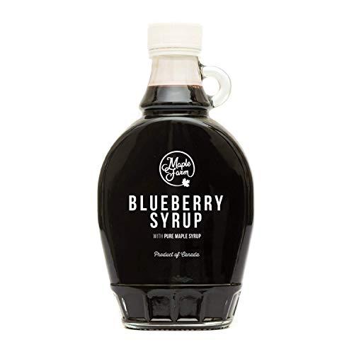 Maplefarm - sciroppo ai mirtilli selvatici e sciroppo d'acero - bottiglia 250 ml (330 g) - blueberry syrup with pure maple syrup