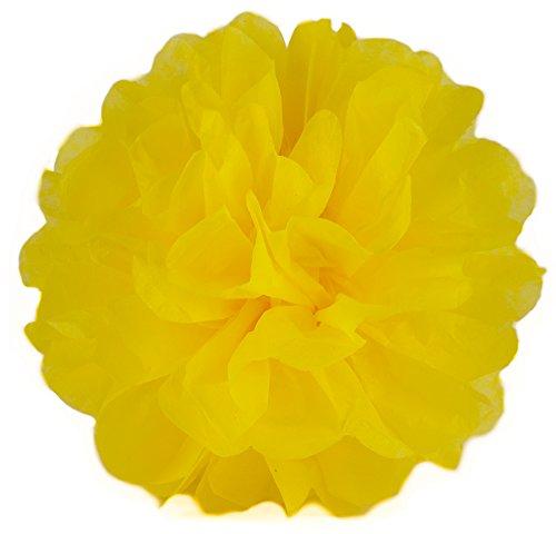 Elfenstall Seidenpapier PomPom für Ihre Hochzeit oder Party als Dekoration in der Farbe gelb und Größe Durchmesser 30 cm (Dekoration Der Party)
