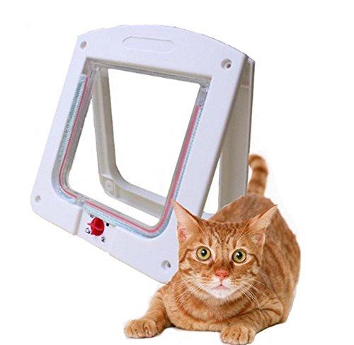 *Toruiwa 1X Haustiertüre 4-Wege Hundetür Katzentür Haustierklappe Hundeklappe Katzenklappe Freilauftür für Mittlerer Kleiner Haustier Hunde Katze Weiß*