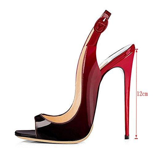 EKS , Escarpins pour femme rouge/noir