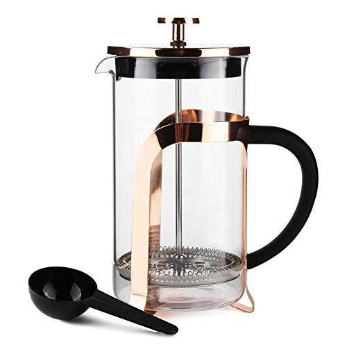 Sivaphe Kaffeebereiter Glas mit Edelstahlfilter, Französische Presse Teepresse Kaffeepresse French Press 1,0 liters 8 Tassen mit Löffel(Gold)-MEHRWEG