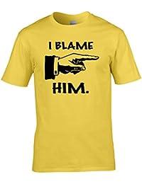 Ice-Tees I Blame him- silly, funny, stupid, joke, nonsense graphic Men's T-Shirt