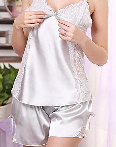 FEOYA Femme Ensemble Lingerie de nuit Débardeur/Shorts Domicile Eté Pyjama Col-V Robe de Chambre à Bretelle en Soie Imitante Uni Couleur au choix Gris Clair