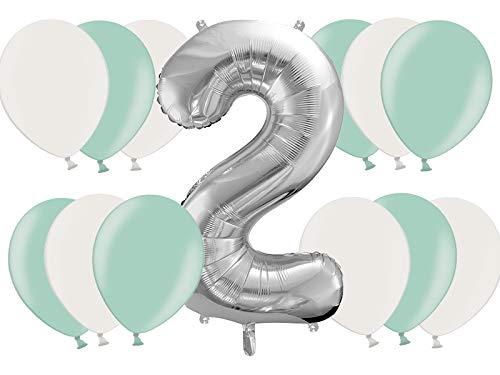 DaLoKu Set 21 Stck XXL 86cm Folienballon Silber Alter 1-9 Zahl Luftballon Geburtstag, Color: Mint/weiß, Size: 2 (Alter Luftballons 1)
