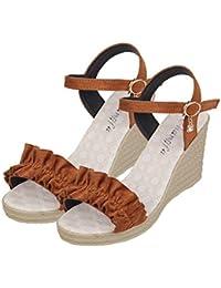c9665aca4a5 OverDose Sandales Espadrilles Compensées Femme en Velours Compensees Boucle  Chaussures Talon Peep Toe Dos Ouverte