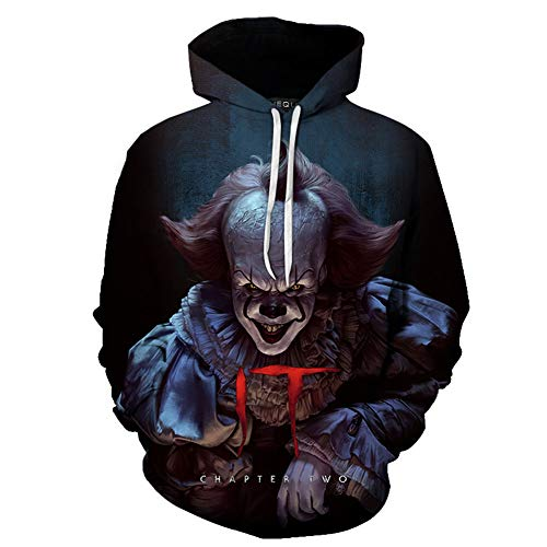DaricowathX Herren 3D Stephen King\'s It Hoodie Georgie Pennywise Horror Movie Cosplay Langarmpullover Sweatshirt(M Mehrfarbig05)