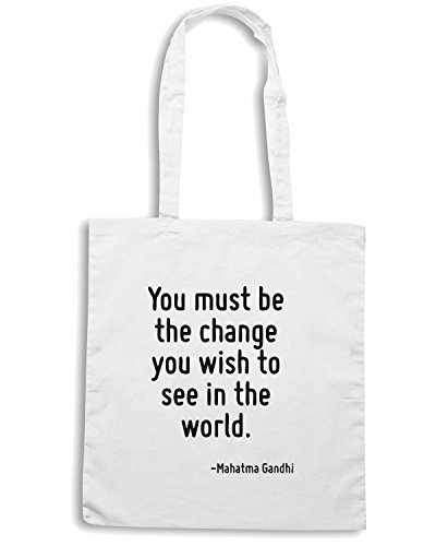 T-Shirtshock - Borsa Shopping CIT0257 You must be the change you wish to see in the world. Bianco