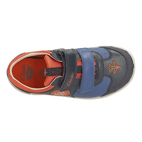 Clarks garçons extra-scolaire jetskybuzz Inf Chaussures en cuir en rouge Combi Bleu
