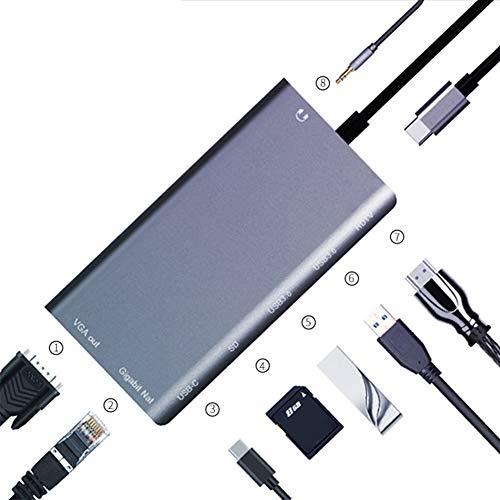 USB C zu HDMI Hub für Nintendo Switch, USB C Dockingstation mit Gigabit Ethernet, 4K HDMI, USB C Stromversorgung, 2USB 3.0 Ports, SD / TF Kartenleser, tragbar für MacBook Pro, Samsung S9 und mehr