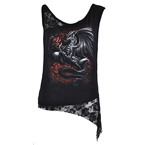 "Camiseta de tirantes ""Dragon Rose"" de Spiral Direct (Negro) - S"