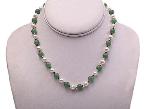 JYX weiße Süßwasserperle & Aventurin Perlen Halskette und Armband-Set