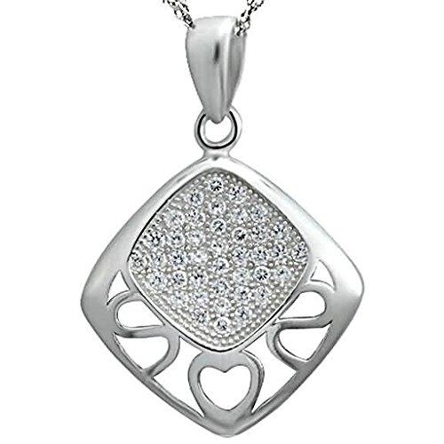 Gnzoe Schmuck Damen Halskette 925 Sterling Silber Quadrat Form Anhänger Kette Damenkette Weiß Größe 2x2.3 CM mit Zirkonia