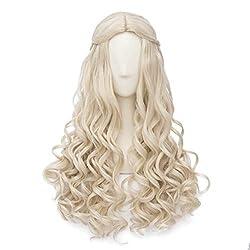 AS Alice Im Wunderland Weiße Königin Anime Cosplay Rose Net Perücke 100% Hochtemperaturfaser In Dezimeter Weiß Langes Lockiges Haar 70CM