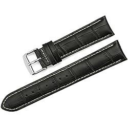 iStrap 24mm Genuine Calf Leather Watch Band Croco Grain Tan Stitch Tang Buckle - Black