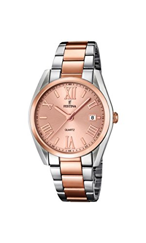 Festina Women's Quartz Watch with Rose Gold Dial Analogue Display and Two Tone Stainless Steel Rose Gold Plated Bracelet F16795/2