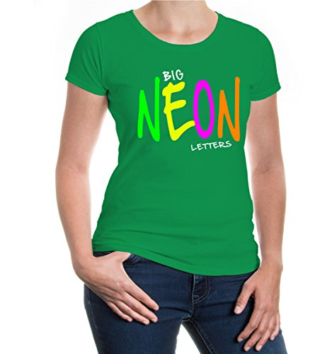 buXsbaum® Girlie T-Shirt Big NEON Letters Kellygreen-White