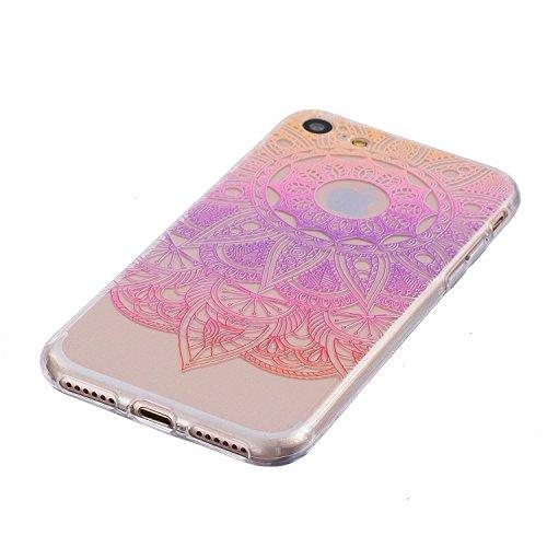 Coque iPhone 7 Plus Housse étui-Case Transparent Liquid Crystal Mandala en TPU Silicone Clair,Protection Ultra Mince Premium,Coque Prime pour iPhone 7 Plus (2016)-Blanc Rose