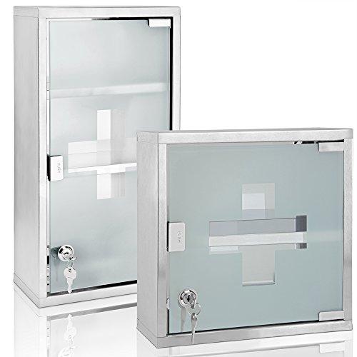 Erste Hilfe Schrank Hausapotheke Arzneischrank Medizinschrank ✔ inkl. 2 Schlüssel ✔ Edelstahl ✔ druckempfindlicher Magnetverschluss ✔ Edelstahl ✔ 48,5 x 25 x 12cm