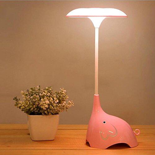 Lyy Creative LED Night Light Bett Schlafzimmer Cartoon Elefant Tischleuchte Touch-Schalter Drei Gänge Dimmen USB Kostenlos Schreibtisch Lampe , Pink