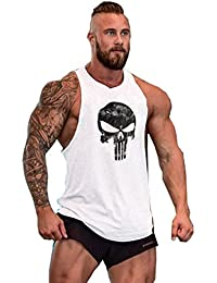 Herren Tank Top Men Cotton Stringer Fitness Gym Shirt Solide Skull Totenkopf T-Shirt Weste Muscleshirt Print Sport Vest