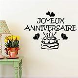 stickers muraux bébé fille Joyeux annivesaire avec gâteau et coeur pour chambre d'enfant cuisine salle à manger