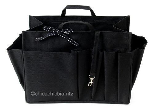 Organizer für Handtasche - Handtaschenordner - L Schwarz - Breite 24cm x Höhe 17cm x Tiefe 11cm
