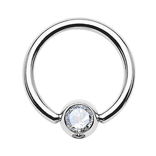 Piercingfaktor BCR Ring Piercing Brust Nippel Lippe Nase Septum Tragus Ohr Helix Intim Perle mit Zirkonia Strass Kristall Clear Silber 1,2mm x 8mm x 3mm