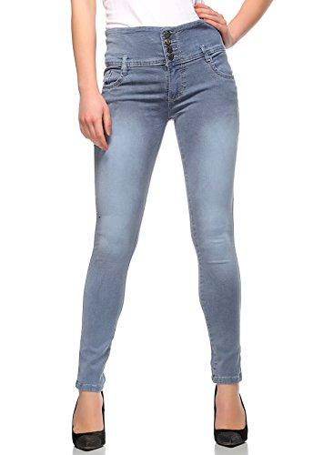 Fasnoya Mid Waist 4-Buttons Skinny Fit Jeans for Women