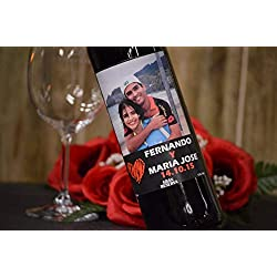 Botella vino personalizada pareja foto