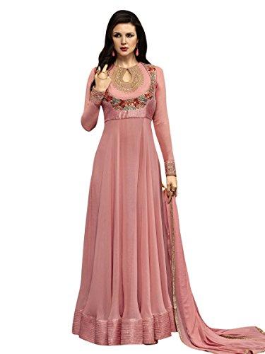 Indisch Salwar Kameez Frau Nicht abgesteppt kleid partywear Nicht Gewunden Nur Material Mirchi Fashion (Krepp Kameez Salwar)