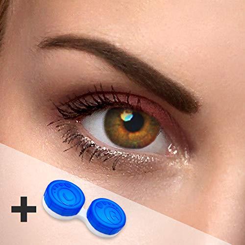"Braune Kontaktlinsen '""dual Tone Hazel"" farbige Kontaktlinsen ohne Stärke inkl. Kontaktlinsenbehälter"