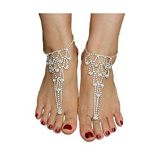 EQLEF® 1par de brillantes sandalias descalzos por Demoiselles de Honor joyas de boda de playa Toe...