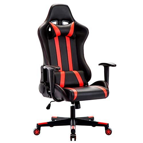 IntimaTe WM Heart Gaming Stuhl, Racing Stuhl, Gamer Stuhl Ergonomischer Bürostuhl, PU Chefsesel Computerstuhl mit Kopfkissen und Taillenstütze, 135° kippbare Rückenlehne (Rot)
