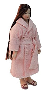 Melody Jane Dolls House Woman in Bath Robe Dressing Gown Porcelain 1:12 People