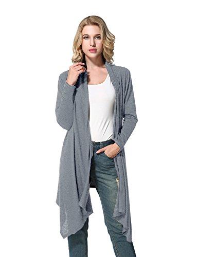Yidarton Damen Strickjacke Cardigan Langarmshirt Irregular Beiläufige Lose Oberteil Mantel Cover Up Outwear Grau