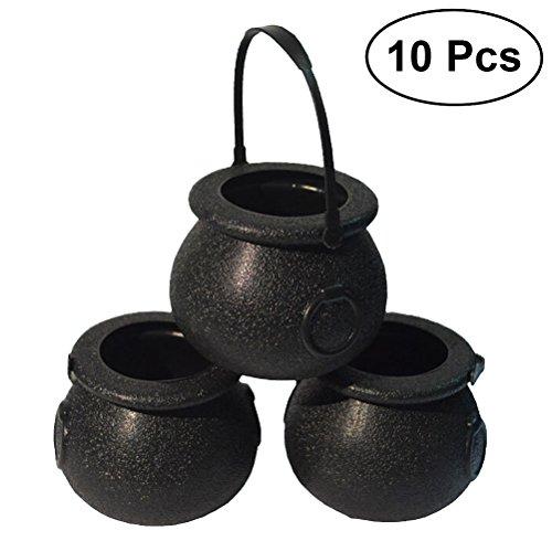 BESTOYARD 10 STÜCKE Black Witch Cauldron Halloween Süßigkeit Eimer Kunststoffkessel mit Griff Süßes oder Saures Candy Eimer Halter für Halloween Party Favor Dekorationen 5x7 cm (Schwarz)