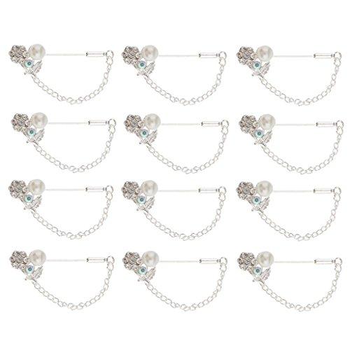 MagiDeal 12 Stück Pearl Crystal Hijab Schal Pins Tailor Nähen Pins Silber -