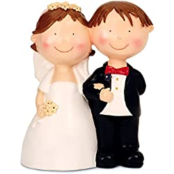 Spardose Sparschwein Brautpaar Hochzeitspaar aus Keramik 15 x 20 cm groß, Gelddose Sparbüchse, Geschenk zur Hochzeit Verlobung Polterabend, mit Gummipropfen