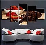 syssyj Kein Rahmen Original Öl Tusche Druck Malerei S 5 Panels Erdbeer Schokolade Kuchen Wandkunst Pictue Home Decor